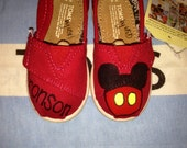 Mickey Mouse Inspired {with Child's Name} Tiny Custom TOMS