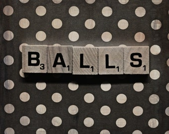 Balls Scrabble Tile Photography Funny Art Gift for Friends Polka Dots Black and White
