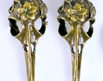Two Faux Bronze Raven Skulls - Zinc Oxide - 42x14mm