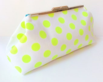 Neon Yellow Polka Dot Clutch