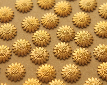 12 pc. Small Raw Brass Daisies: 12mm - made in USA | RB-216