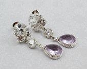 Purple Silver Dangle Earr...