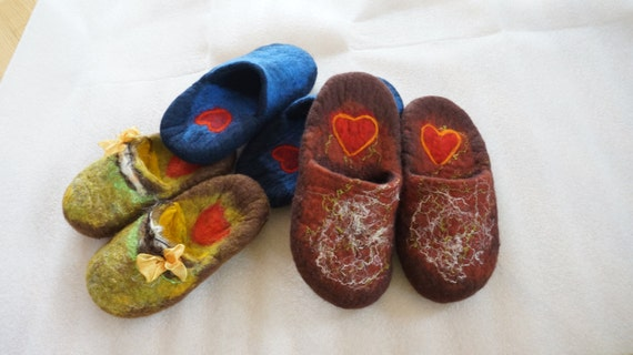 Felted personalized wool slippers initials open heel low countered Gift under 50 Custom order For men women him her heart Valentine