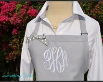 Gray Personalized Apron - Monogrammed Gray Apron, Silver Wedding Anniversary Gift Idea, Custom Silver Apron, Brides Wedding Reception Apron
