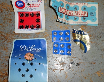 Vintage Sewing Supplies, Snaps, Fasteners, Mixed, Sewing Notions, 1940's - 1950's