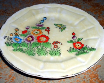 Vintage Plate, Hollyhock, Floral, Art Deco, Small, Bread Plate, Hand Painted