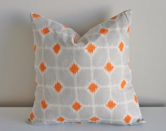 18 inch patterned pillow cover/case in gray/grey and orange dot with zipper