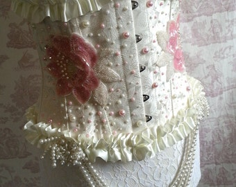 "UNDERBUST CORSET 28"" waist APPLIQUED  Pearls wedding By Ophelias Folly"