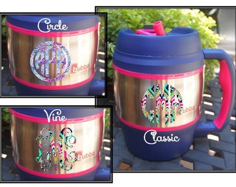 52 oz. Navy Blue & Pink Bubba Keg with Monogram - Personalized with Lilly Pulitzer Print Pattern in Laminated Vinyl - Monogram on 2 Sides
