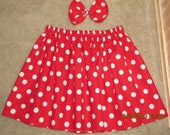 Minnie mouse skirt red polka dot halloween disney birthday any size knee level only.