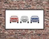 Italian Job - Personalised Mini Car Print - 3 classic minis cars custom art print