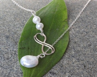 SALE. Sterling Silver Double Infinity Necklace, Infinity Pearl Lariat Necklace. infinity necklace,Pearl Infinity Neckalce,Bridesmaid jewelry