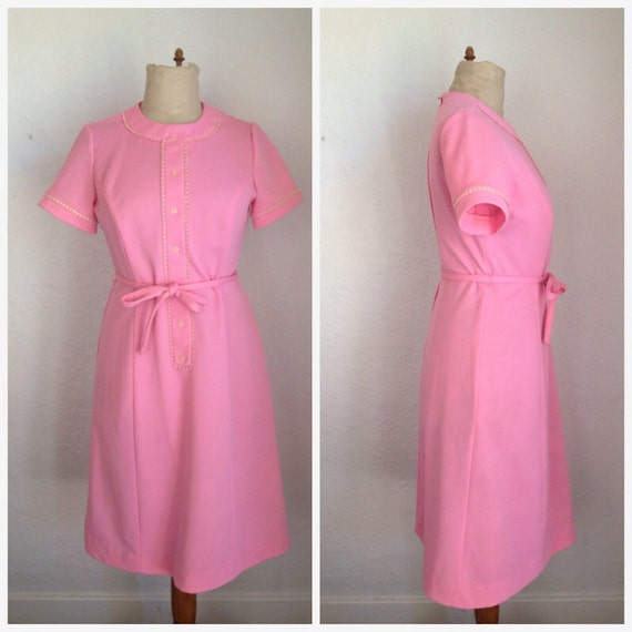 VTG 1950's Pink Shift Dress with Button Detail