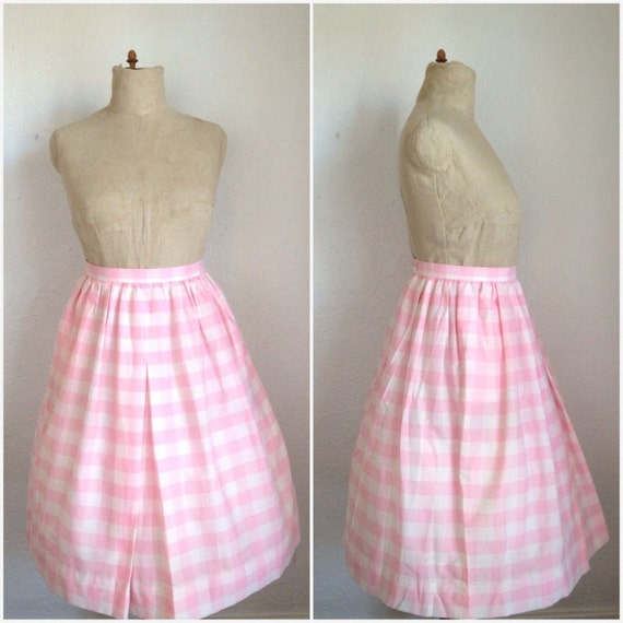 VTG 1950's Pink and White Buffalo Plaid Skirt