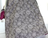 Car Seat Canopy - Grey and White Flowers