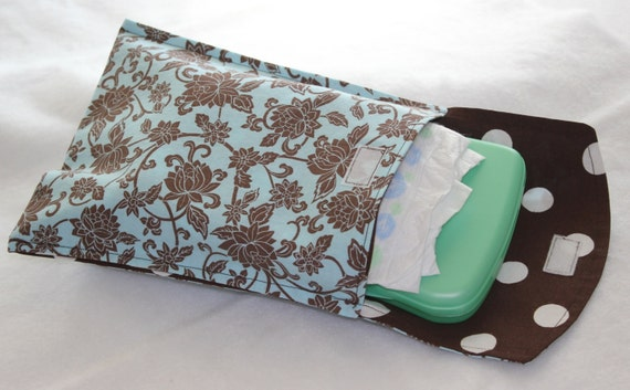 Diaper and Wipe Clutch - Brown Flowers on Blue
