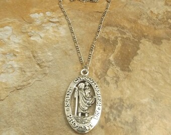 Bright Pewter St Christopher Pendant on a Figaro Chain Necklace-3570