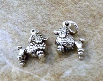 Two Sterling Silver Mini Poodle Charms  - 3068