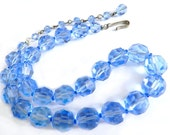 Ice Cool Blue Crystal Necklace 1940s Collectible Vintage Jewelry  Faceted Blue Crystal Bead Necklace Ice Cool Blue Summer Spring Jewelry