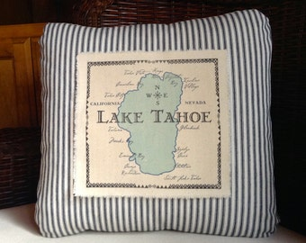 Lake Tahoe Map Throw Pillow Cover Map Print on pillow cover Map pillow cover