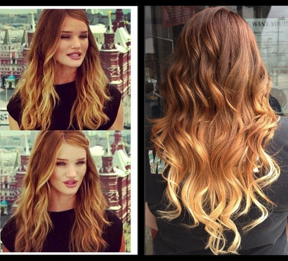 items similar to ombre hair extensions dark blonde ombre hair light brown ombre hair caramel. Black Bedroom Furniture Sets. Home Design Ideas