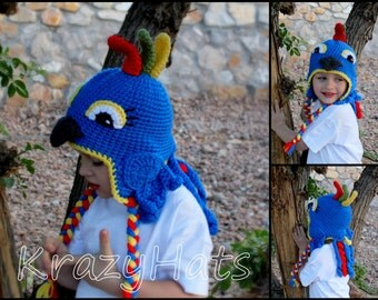 Crochet Parrot hat.Made to order.