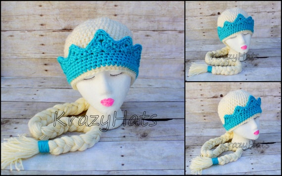 Crochet princess hat elsa from frozen inspired beanie made to order