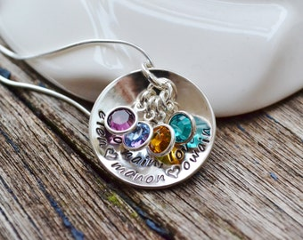 Hand Stamped mothers cupped nest personalized multi name pendant necklace