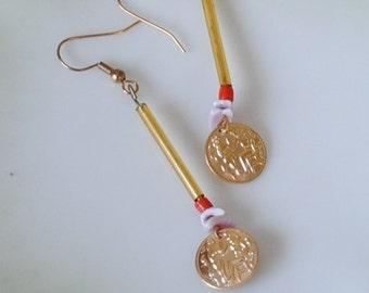 Tube coin earrings
