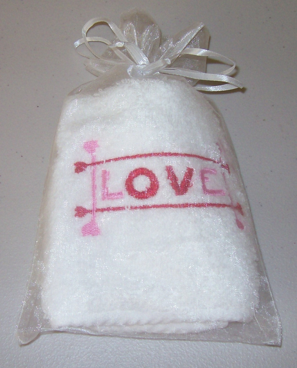 Valentines day gift face towel embroidered by