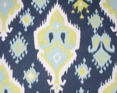 Navy Blue Citrine Lime Green Aqua White Premier Ikat Curtains - Grommet - 84 96 108 or 120 Long by 25 or 50 Wide - Optional Blackout Lining