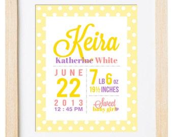 Digital Printable Birth Announcement Print - Birth Announcement Wall Art - Birth Stats Print - Nursery Wall Art