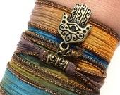Hamsa Silk Wrap Bracelet Evil Eye Protection Yoga Jewlery Unique Christmas Stocking Stuffer Gift For Her Birthday Gift Under 50 Item K81