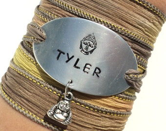 Custom Name Silk Wrap Bracelet Yoga Jewelry Buddha Custom Unique Gift For Her or Him Teacher Christmas Stocking Stuffer Under 50 Item K65