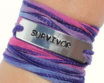 Survivor Silk Wrap Bracelet Recovery Cancer Awareness Strength Jewelry With Meaning Engraved Healing Survive Gift For Her Under 50 C30