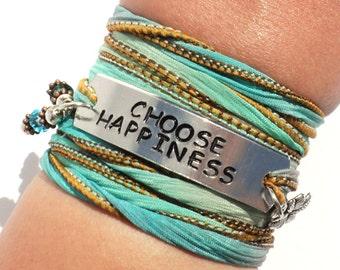 Choose Happiness, Silk Wrap Bracelet, Motivational, Quote, Inspirational Jewelry, Be Happy, Yogi Gift, Fall Fashion, Christmas Gift