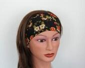 BLACK with roses exercise headband- yoga headband- hair band-workout headband- fitness headband