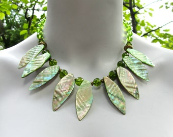 Chunky Statement Necklace, Mother of Pearl, Green Quartz, Green Crystal, Tribal Necklace, Collar Necklace, Gift for Her  780