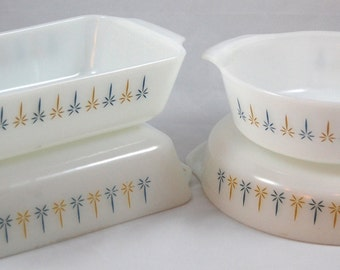 Vintage Fire King Baking Dishes - Candle Glow - 4 Piece Set