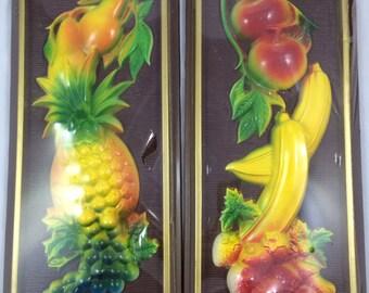 Mid Century Miller Studio 3D Fruit Wall Hangings - 2 Pieces