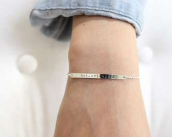 Silver Bar Bracelet, 42x3mm, Nameplate Bracelet, Sterling Silver Bar Bracelet, Personalized Silver Bar Bracelet , Skinny Silver Bar Bracelet