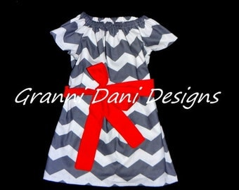 summer chevron peasant dress grey white red baby toddler girl 6 9 12 18 24 months 2t 3t 4t 5t