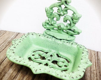 BOLD mint green business CARD HOLDER soap dish // ornate floral // bathroom office decor // victorian woodland shabby chic