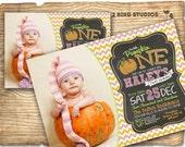 Pink Pumpkin birthday invitation - chevron pink pumpkin birthday party - pink chalkboard invitation - printable pink pumpkin invitation