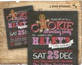 Milk and cookies birthday invitation - Christmas cookies and milk invitation - Girl birthday party invitation for milk and cookies party