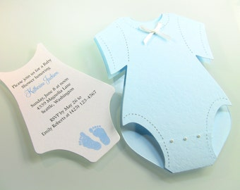Customize Any Color, 10 Onesie Baby Shower Invitation, Thank You, or New Baby Announcement Cards, Baby Boy Blue Feet