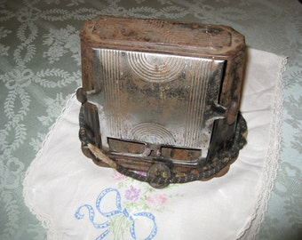 Vintage Antique Son-Chef 680 Electric 2 Slice Toaster Art Deco Chrome