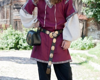 Medieval Classic Mens Shirt and Overtunic - Flax Linen Set