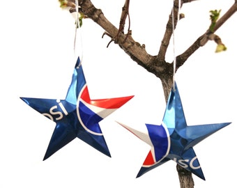 Set of 2 STAR ORNAMENTS  - Recycled Pepsi Soda Pop Can