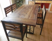 Dining Table with Reclaimed Fir Top and Hand Forged Artisan Steel Base